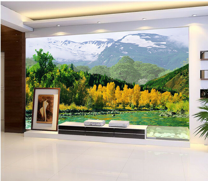 Papel Mural Pintado Mural Papel De Vellón Montaña Río Bosque 34 Paisaje Fondo De Pantalla ES e5c963