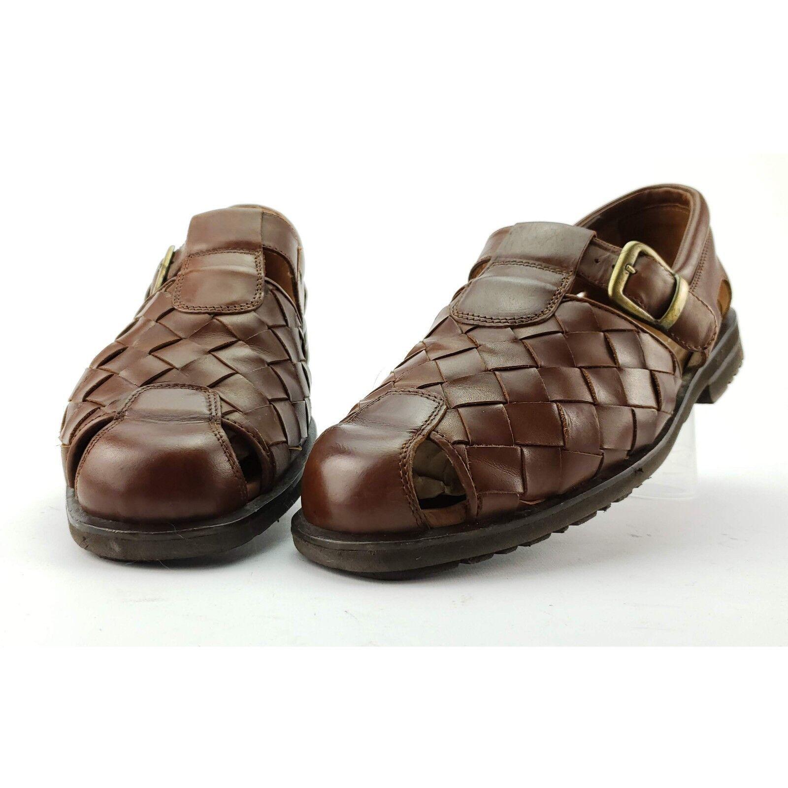 Allen Edmonds 'Tivoli' Men's 9.5 2E Brown Fisherman Woven Sandal Vibram 48016