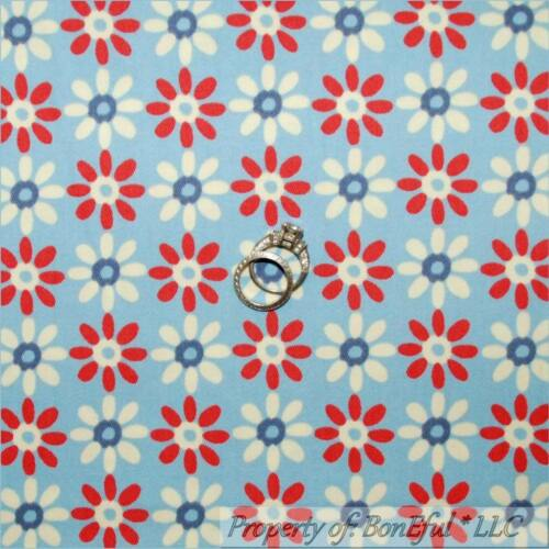 BonEful Fabric FQ Woven Decor VTG Blue Red White Daisy Flower Dot Stripe Pattern