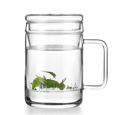 400ml Vatiri Clear Glass Water Mug Tea Cup Teacup Glass Tea Filter Infuser