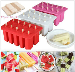 10-Cells-Frozen-Ice-Cream-Pop-Mold-Popsicle-Maker-Lolly-Mould-Ice-Tray-12-Sticks