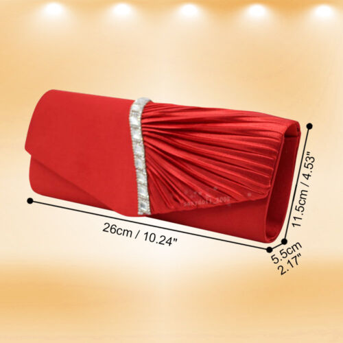 UK Women Wedding Evening Party Satin Crystals Prom Clutch Shoulder Bag Handbag