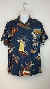 NEW-Island-Republic-Mens-Hawaiian-Shirt-Blue-Maui-Tropical-Palm-Size-Medium