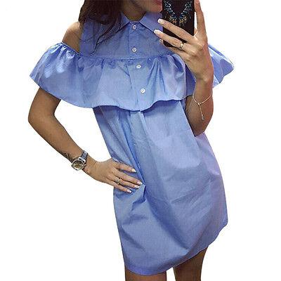 Fashion Women Ladies Summer Party Club Off-Shoulder Shirt Dress Short Mini Dress