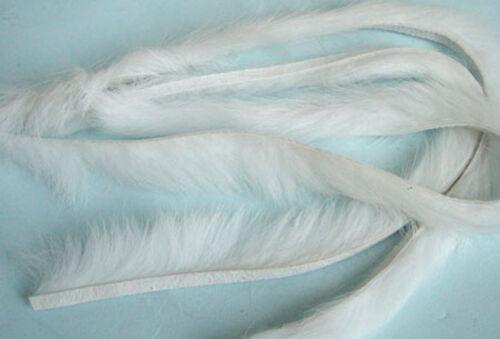 3 x BANDE de LAPIN BLANC montage mouche peche peau zonker strip skin white