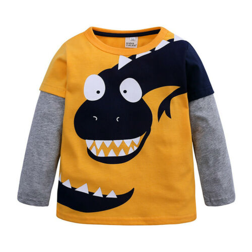 Toddler Children Kids Cartoon Boys Dinosaur Patchwork Shirt Tops Outfits Clothes
