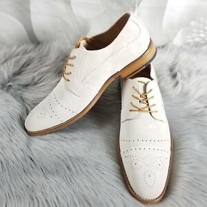 Stacy-Adams-Mens-Deacon-Leather-Oxford-Dress-Shoes-Cap-Toe-Brogue-Lace-Up-Chalk