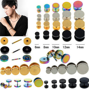 2Pcs-Fake-Ear-Plug-Stud-Stretcher-Tunnel-Earring-Piercing-Stainless-Steel-New