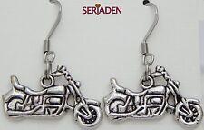 1 Pair Antique Motorcycle Earrings 25 x 31mm long Nickle Lead Cadmium Free ER004