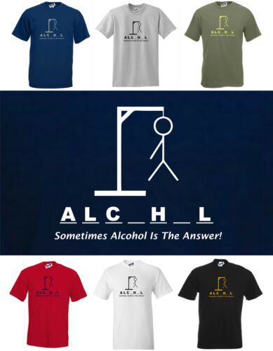 New Funny Drinking Beer T-Shirt  /'Sometimes Alcohol Is The Answer!/'  S to 5XL