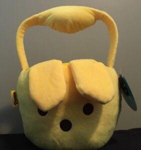 Peeps Flipeez Yellow Bunny Easter Treat Basket Squeeze Handle Flips Ears New