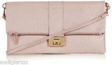 Topshop Pink Flip Lock Clutch Bag Real Leather