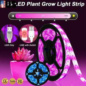 USB Plant Grow LED Strip Light 0.5M-3M 30-180LEDs Flexible Dimmable Waterproof