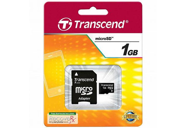 kQ Transcend microSD 1GB Speicherkarte micro SD 1 GB mit SD Adapter