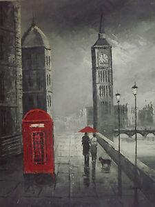 Toile peinture huile large romantique couple amoureux londres moderne original ebay for Peinture moderne