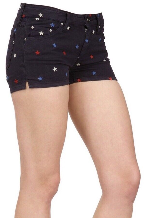 NEW Isabel Marant Embroidered Star Denim Shorts Size 36 0 Navy bluee