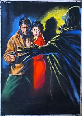 Original 1950 S Movie Poster Illustration Art Pulp Horror Painting Pinup Girl Ebay