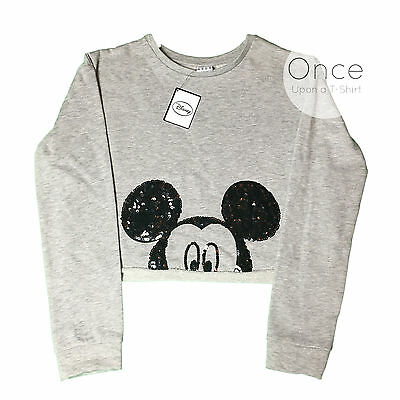 PRIMARK Official DISNEY MICKEY MOUSE SEQUIN CROPPED Sweatshirt Jumper