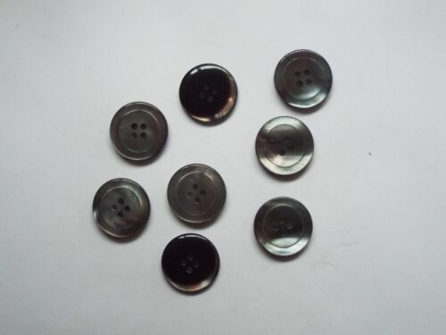 8pc 23mm School Grey Mother of Pearl Mock Shell Effect Coat Knitwear Button 1578