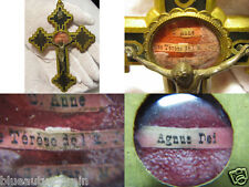 "† LARGE MULTIPLE SAINTS RELIC RELIQUARY CRUCIFIX HOLDER 5 9/16"" WORN BY PRIEST †"