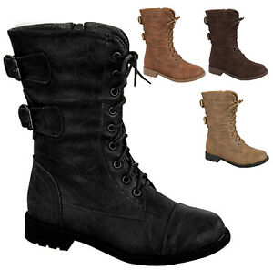 Girls Lace Up Combat Boots