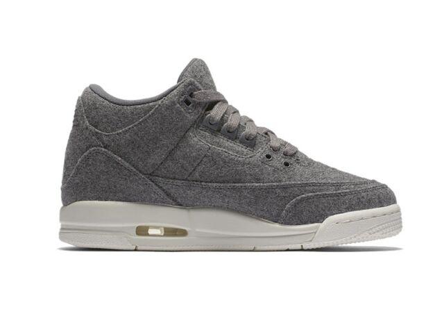 Nike Air Jordan 3 Retro Wool BG III Dark Grey Kids Women Shoes Aj3 ... a9b16977e3