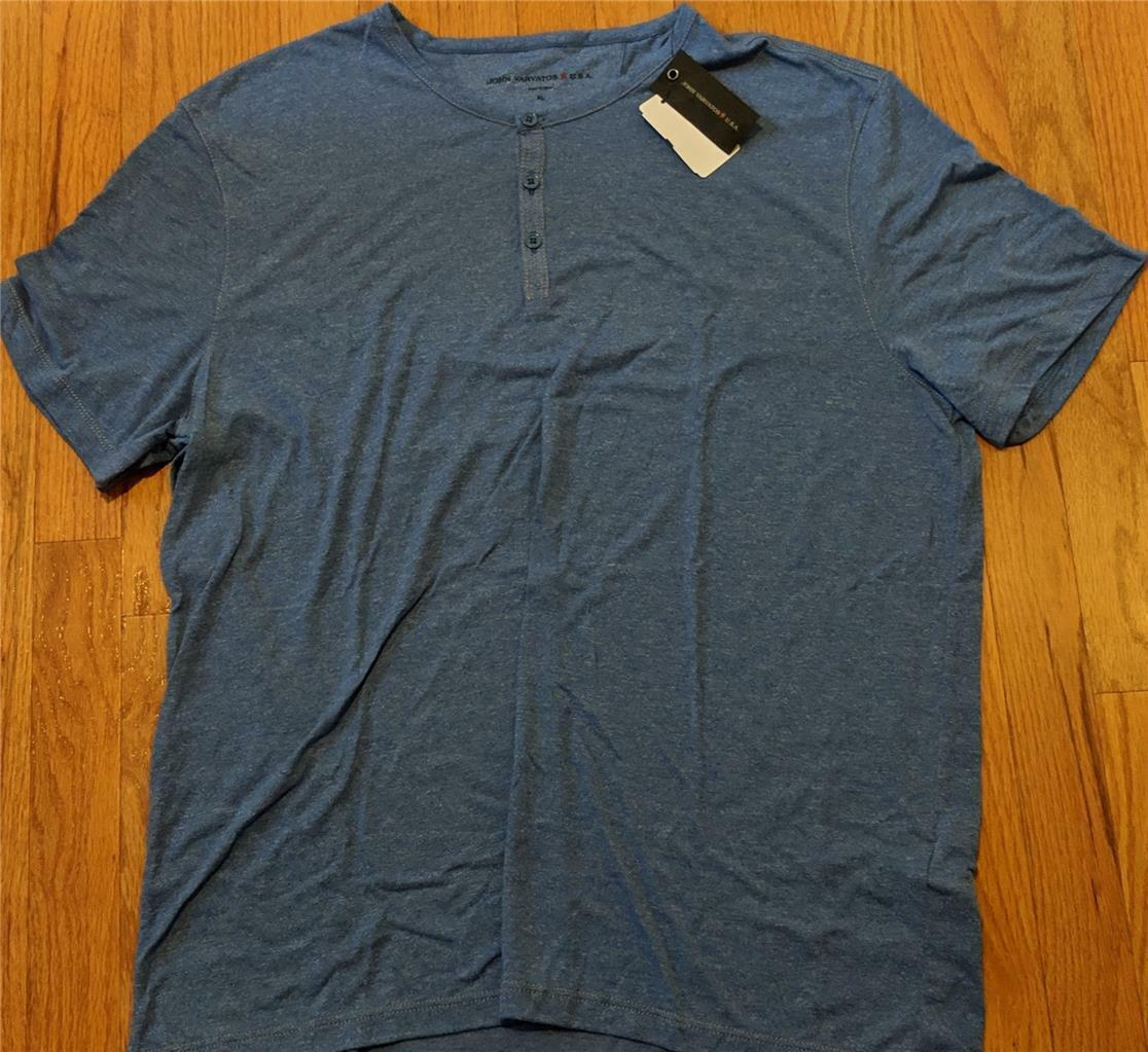 Mens John Varvatos Star USA SS Henley T-Shirt Wave bluee XL