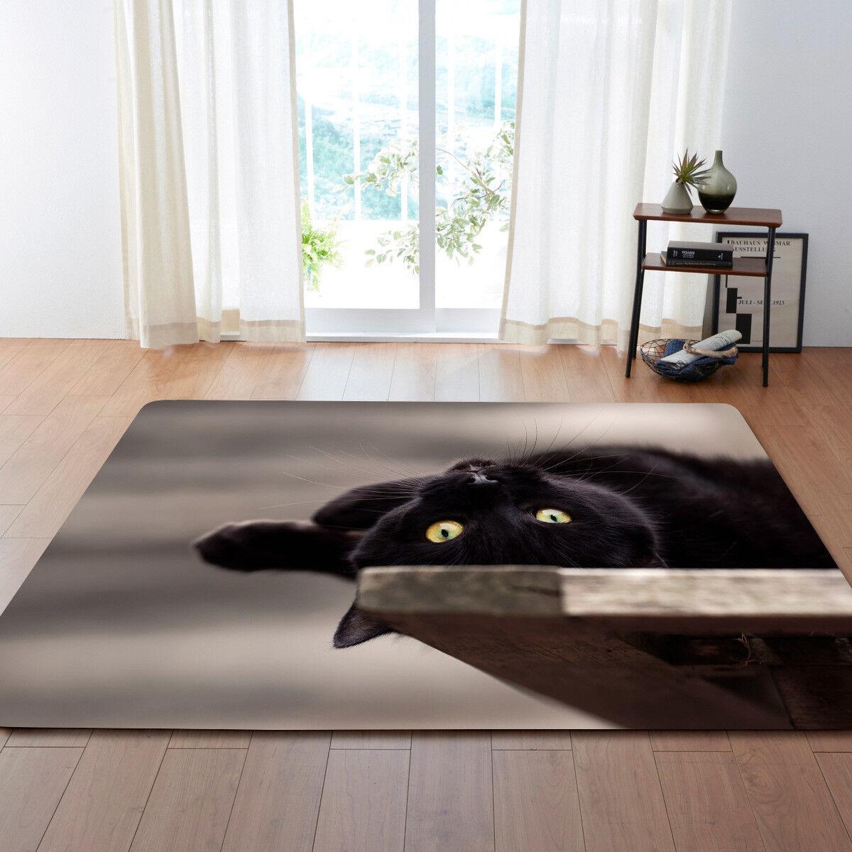 Nera Gatti Fantasia 3D Tappeto Moderno Carpet. Antiscivolo