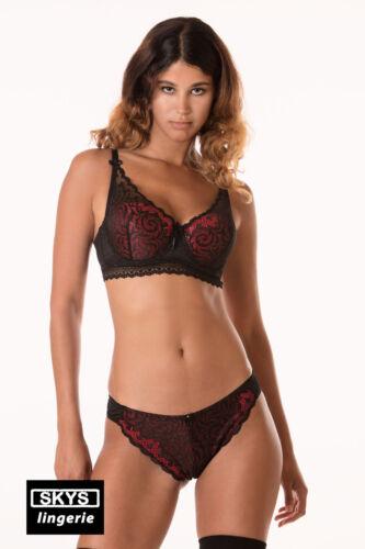 S VANESSA ensemble soutien-gorge push-up et string noir et rouge taille 85B
