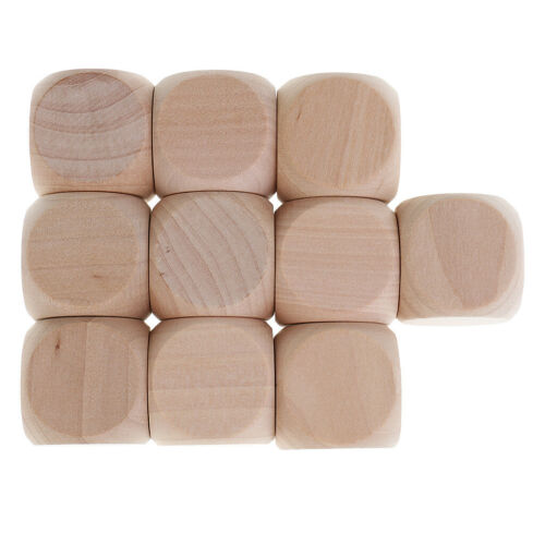 10PCS Wooden Craft Blank Dice Natural Wood Kids Art Craft Stacking Block 3cm