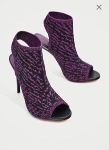 NEW-Zara-Size-6-39-Purple-Leopard-Print-Peep-Toe-Ankle-Boots-Black-Heels-Shoes