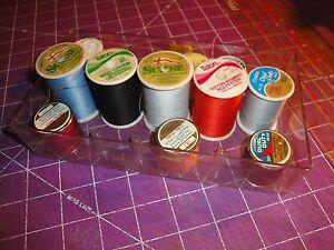 (610) See Thru Sewing Thread Holder Box w/ 11 spools 4.5 x 8 x 1.5