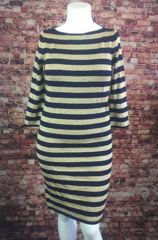 99c1d00b1e83b4 Lauren Ralph Lauren gold Shift Dress Size M Striped bluee ogsfjo7189-Dresses