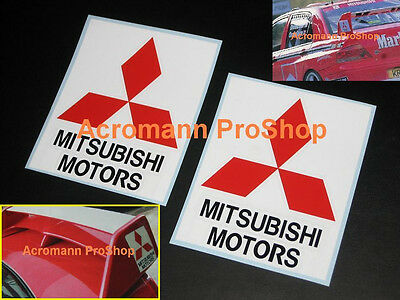 "2x 5"" 12.7cm Mitsubishi Motors wing Decal Sticker Lancer Evolution GSR Evo 5 6 7"
