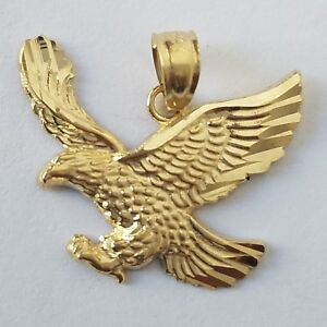 Solid real 14k yellow gold eagle pendant charm 19 mm 70 inch long image is loading solid real 14k yellow gold eagle pendant charm aloadofball Gallery