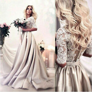 Champagne-Wedding-Dresses-Bridal-Gowns-A-Line-Half-Sleeves-Appliques-Custom-Made