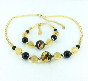 Murano-Necklace-amp-Bracelet-Gift-Set-Genuine-Hand-Made-18k-Gold-Black-Beads