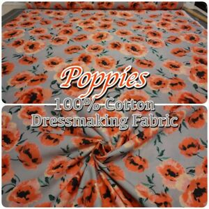 Lady-McElroy-1384-Poppies-on-Grey-100-Cotton-150cm-60-034-Wide-Dressmaking-Fabric