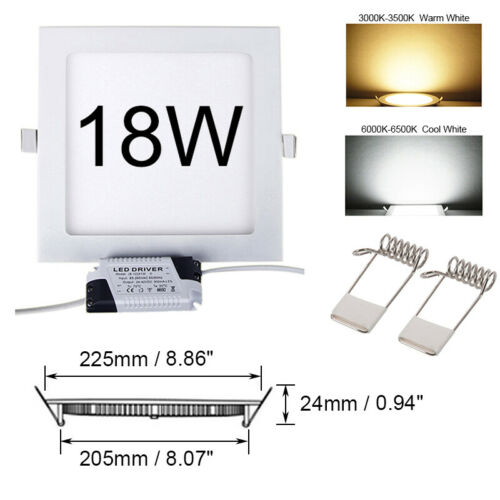 DOWNLIGHT ULTRA THIN CEILING LED RECESSED PANEL FLAT LIGHT FITTING LAMP IP 44 UK