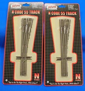 Lot-of-2-N-Scale-ATLAS-2051-Code-55-5-R-H-Manual-Turnouts