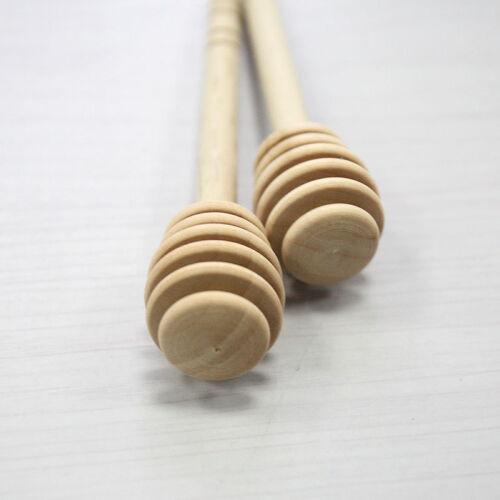 2Pcs Wooden Honey Dipper Wooden Stick Spoon Dip Drizzler Server 145 mm Long CTEF