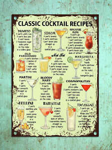 Details about Classic Cocktail Recipes Metal Signs Retro Poster Iron Plate  Pub Bar Decor