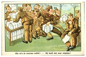 Antique-military-WW1-printed-cartoon-postcard-She-forgot-me-again-soldiers-post