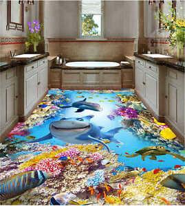 gl ckliche ozeanwelt 3d fu boden wandgem lde foto bodenbelag tapete zuhause ebay. Black Bedroom Furniture Sets. Home Design Ideas