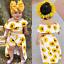 3PCS Toddler Kids Baby Girl Sunflower Crop Tops Shorts Dress Outfits Sunsuit Set