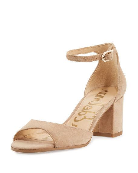 Sam Edelman Susie Beige Ankle-Strap Block-Heel Sandales 3037 Größe 10 M