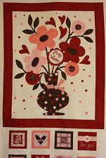 """Colchas de retazos Panel Valentín Flores Corazones """"Be My Valentine' 100% Algodón"""
