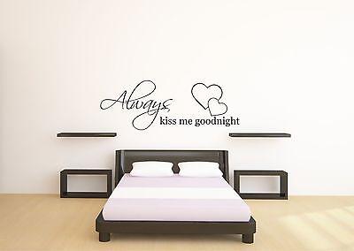 Always Kiss Me Goodnight Wall Art Quote Decal Sticker Bedroom Vinyl Wall Mural Ziekten Voorkomen En Genezen