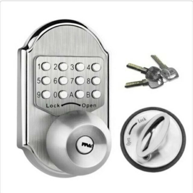 Keyless Door Lock Deadbolt Entry Door Knob Keypad Digital Combination Mechanical