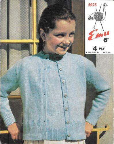 """La UEM 6025 Vintage Niñas Tejer patrón cincuenta 4ply 26-32 /""""suéter cárdigan"""